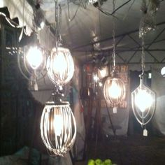 Antique old bakery whisks turned into light fixtures!