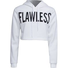 White Letter Print Cropped Hoodie ($26) ❤ liked on Polyvore featuring tops, hoodies, white hooded sweatshirt, cropped hoodies, hooded crop top, hooded pullover and white hoodies