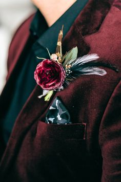 Burgundy velvet suit - boutonniere with feathers - Denver Clock Tower wedding Maroon Wedding, Burgundy Wedding, Wedding Suits, Fall Wedding, Dream Wedding, Our Wedding, Wedding Ideas, Wedding Planning, Wedding Groom