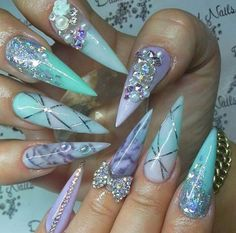 Blue and purple mermaid stiletto nails