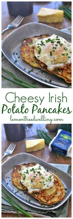 Cheesy Irish Potato Pancakes | Lemon Tree Dwelling -- a twist on boxty