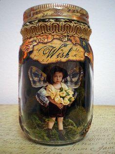 Mixed-media altered jar by Red Birdie. Altered Tins, Altered Bottles, Altered Art, Mason Jar Crafts, Bottle Crafts, Mason Jars, Bric À Brac, Fairy Jars, Jar Art