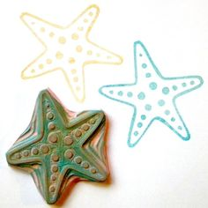 Starfish large hand carved rubber stamp