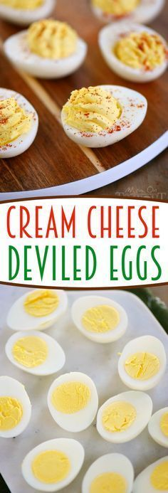 Cream Cheese Deviled Eggs - Cream cheese makes everything better and these deviled eggs are no exception! Super creamy and delicious, this is the party appetizer that everyone will go for first!: Finger Food Appetizers, Appetizers For Party, Finger Foods, Appetizer Recipes, Snack Recipes, Cooking Recipes, Paleo Appetizers, Cooking Ribs, Cooking Bacon