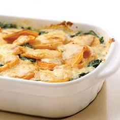 Butternut Squash Gratin              This gratin, packed with butternut squash, spinach, cheese, and rich creme fraiche is really special. You can cut prep time by purchasing peeled squash in your grocery produce section