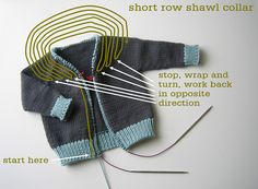 FREE Sweater Techniques Series – Gramps Baby Cardigan – 5 / 6 : Shawl Collar and Button Band Knitting Short Rows, Knitting For Kids, Baby Knitting Patterns, Knitting Stitches, Cardigan Bebe, Crochet Baby Cardigan, Knit Crochet, Booties Crochet, Crochet Hats