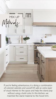 Kitchen Island Tips - Pure Salt Interiors Taupe Kitchen Cabinets, White Oak Kitchen, Small White Kitchens, Kitchen Redo, New Kitchen, Kitchen Island Oak, Colorful Kitchen Cabinets, Oak Kitchen Remodel, Kitchen Ideas