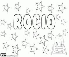 Colorear Rocío, nombre de origen andaluz, su significado es refrescante como el rocío. Nombre en honor de la Virgen del Rocío