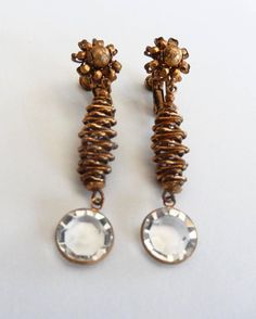 Vintage Miriam Haskell Clip Earrings with Crystal Drop 1960