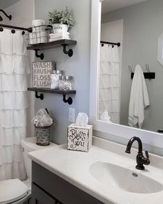 Black Shower rod, faucets, shower head and shelves with the black pipes 47 Amazing Guest Bathroom Makeover Ideas Bathroom Renos, Bathroom Storage, Bathroom Renovations, Bathroom Cabinets, Bathroom Shelves, Bathroom Organization, Dyi Bathroom, Neutral Bathroom, Budget Bathroom