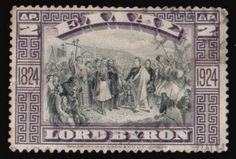Literary Stamps: Byron, (George Gordon) Lord (1788–1824) Lord Byron, Stamp World, English Poets, Romantic Period, She Walks In Beauty, Love Stamps, Great Britain, Postage Stamps, Mythology