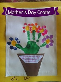 Mother's Day Handprint Craft - Thumbprint & Handprint flowers with Poem via @ClassyMommy