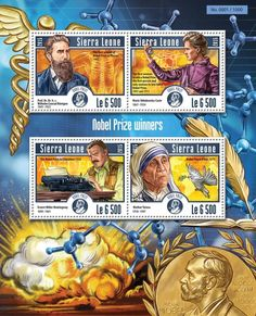 Post stamp Sierra Leone SRL 15208 a Nobel Prize winners (Prof. Nobel Prize Winners, Stamp Collecting, Sierra Leone, Poster, Mother Teresa, Postage Stamps, Sweden, Connection, Beautiful