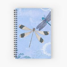 'Dragonfly Cute Blue,Teal Floral Dragonflies & Butterflies Hippie BOHO Style Dragonflies Nature Gift Products ' Spiral Notebook by School Trends, Notebook Design, Dragonflies, Boho Style, Hippie Boho, Spiral, Boho Fashion, Butterflies, Teal