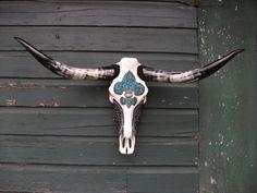 Fleur de Lis Longhorn Skull. $235.00, via Etsy.