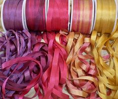Available in 7mm too, our 25 yard silk ribbon combo packs are popular color-coordinated selections of ribbon featuring 5 yards in 5 colors in 4mm width. The combo packs feature solid colors as well as variegated silk ribbons. Extremely affordable and excellent quality. All packages shipped in the US, receives tracking with first class postage. Inspiration - www.itsonlyribbon.blogspot.com Types Of Embroidery, Learn Embroidery, Embroidery For Beginners, Hand Embroidery Designs, Embroidery Techniques, Embroidery Patterns, Embroidery Stitches, Modern Embroidery, Sewing Techniques