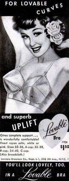 lingerie ad   1950s vintage lingerie ad for a Lovable bullet bra