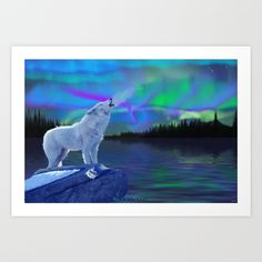 Arctic Prayer - White Wolf And Aurora Art Print by Skye Ryan-evans - X-Small Arctic Wolf, Wolf Love, White Wolf, Canvas Prints, Art Prints, Cool Posters, Wildlife Art, Buy Frames, Polar Bear