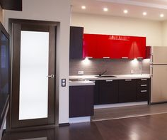 Unique Modernist style is partly represented in Maximum door line. Wenge finish, six horizontal milk-glass pieces divided into parts by polished aluminum borders are the main features of the Maximum 209 Interior door. Kitchen Furniture, Furniture Design, Diy Furniture, Modern Interior, Interior Doors, Kitchen Black, Divider, Kitchen Cabinets, Interiors