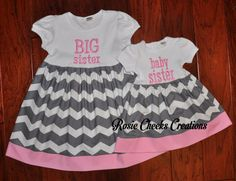 Matching Big Sister Dress and Little Baby Sister Dress - Gray Grey Chevrons with Pink - Hospital Outfits - First Family Pictures