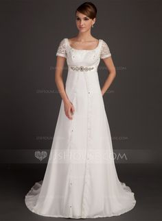 A-Line/Princess Scoop Neck Court Train Chiffon Satin Wedding Dress With Lace Beading (002015553)
