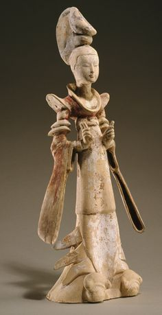 Standing court lady, mid-7th century. Tang dynasty (618–906). China.
