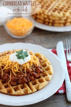 Cornbread Waffles with Chili. These simple homemade Cornbread Waffles whip up in minutes and go great served with chili for a quick 15 minute dinner idea! Think Food, I Love Food, Good Food, Yummy Food, Cornbread Waffles, Jalapeno Cornbread, Waffle Iron Recipes, Homemade Cornbread, Homemade Waffles