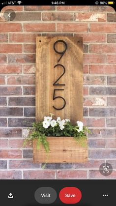 DIY House Number Sign, Home Decor, How to make a vertical house number sign for your home exterior, easily mountable right by a front door. Includes a little planter to add some pretty . Farmhouse Side Table, Farmhouse House Numbers, Exterior Doors, Diy Exterior, Exterior Paint, Terrazzo, Home Projects, Outdoor Projects, Pallet Projects
