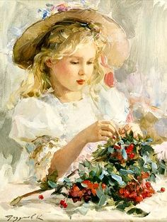 Painting of little girl in straw hat with strawberries, by Konstantine Razumov.  This photo was uploaded by tenderrose_2008.