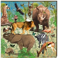 This x Safari Wood Wall Art by Mill Wood Art features all of your favorite safari animals in one unique image