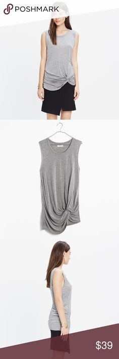 MADEWELL speckled twist tunic tank top PRODUCT DETAILS Sleek and sleeveless, this tunic-length tank is artfully knotted for a prestyled feel. Made of a heathered jersey with subtle multicolored flecks, this top was designed to do the day-to-night thing.    Longer, drapey fit. Viscose/wool/cotton. Hand wash. Import.  Excellent used condition Madewell Tops Tank Tops