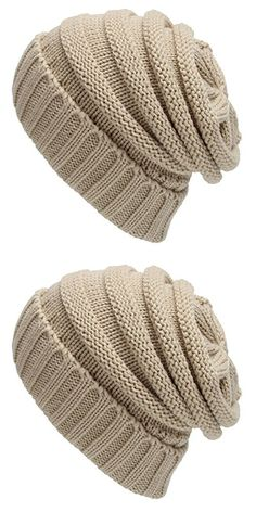 LAKALA Trendy Warm Oversized Chunky Soft Oversized Cable Knit Slouchy Beanie Beige