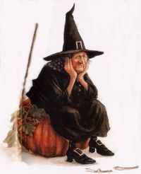 Sad- looking witch in the vintage style by Jean-Baptiste Monge Retro Halloween, Halloween Chat Noir, Halloween Doll, Halloween Pin Up, Halloween Pictures, Holidays Halloween, Spooky Halloween, Halloween Crafts, Happy Halloween
