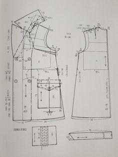 원단/짜투리/바느질/미싱/아이디어/퀼트/소잉/ | BAND Coat Patterns, Clothing Patterns, Sewing Patterns, Pattern Cutting, Pattern Making, Jacket Pattern, Pattern Blocks, Sewing Clothes, Pattern Fashion