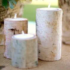 alice brans posted Birch Bark Log Votive Tea Light Candle Holders Rustic Woodland Wedding Decorations to their -wedding ideas- postboard via the Juxtapost bookmarklet. Rustic Candles, Rustic Candle Holders, Candle Holder Set, Tealight Candle Holders, Candle Sticks, Candle Shop, Centerpiece Decorations, Wedding Centerpieces, Wedding Decorations