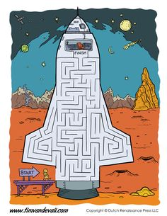Free printable space mazes for kids! Guide the astronaut to his space ship. Fine Motor Activities For Kids, Mazes For Kids, Math Activities, Printable Mazes, Printables, Maze Worksheet, Worksheets, Astronaut Party, Maze Puzzles
