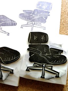eames chair rubber stamp  hand carved rubber stamp by talktothesun, $45.00