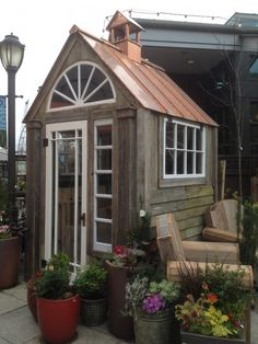 the.most.adorable  gardening shed at Ravenna Gardens in University Village, Seattle.