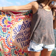 Sunshine on my shoulders makes me happy and this cute beach towel helps too!