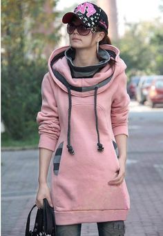 Popular Special Collar Long Sleeves Cotton+Fleeces Blouse For Women (PINK,FREE SIZE) | Sammydress.com