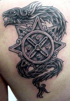 Tattoo Aztecas, Crest Tattoo, Armor Tattoo, Symbol Tattoos, Haida Tattoo, Sword Tattoo, Chicano Tattoos, Tattos, Snake Tattoo