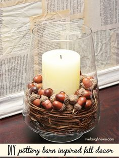 DIY Pottery Barn Inspired Fall Decor. Time to take the kids on an acorn hunt, lol.