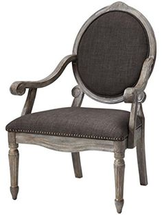 """Madison Park Brentwood Oval Back Exposed Wood Arm Chair, 27"""" x 28.5"""", Grey ❤ Luxury Home"""