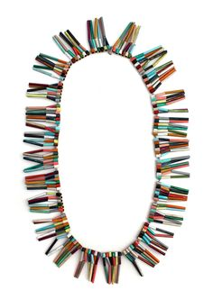 Peta Kruger  Neckpiece: This Fool's Gold  Brass, silk cord, paint // ooh painting on brass