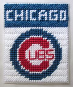 images of plastic canvas boxes patterns | Chicago Cubs tissue box cover in plastic canvas PATTERN by AuntCC