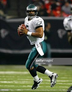 Quarterback Donovan McNabb of the Philadelphia Eagles against the Atlanta Falcons at Georgia Dome on December 6 2009 in Atlanta Georgia Philadelphia Eagles Merchandise, Philadelphia Eagles Football, Philadelphia Sports, Football Is Life, Football Players, Football Helmets, Atlanta Falcons, Atlanta Georgia