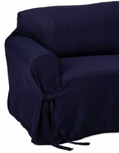 Jacquard Fabric Solid NAVY BLUE Stripe Couch/sofa Cover Slipcover Grand  Linen Http:/