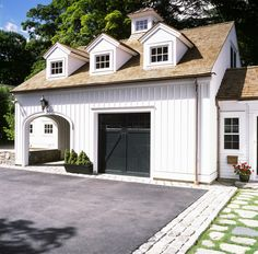 Great garage/storage or guesthouse. All perfect! New Canaan, CT Car Shed, Garage Shed, Detached Garage, Car Garage, Garage Storage, Garage Exterior, Carriage Doors, Carriage House, Garage Door Makeover