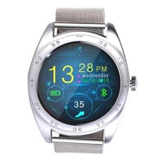K89 Round Screen Smartwatch Bluetooth Wrist Watch with Stainless Band Silver. 1.Heart rate Monitor. Detect whether aerobic exercise and monitor your heart rate when you do any exercise.2.MTK 1st low-power dissipation chipset from MTK2502C, compatible with both IOS & Android.3.Notification from phone. It can notice the information from your phone including G-mail, Email, MSM, MAIL, Twitter, yahoo, Weather in time and Missing call.4.Bluetooth remote music control. You can open your phone…