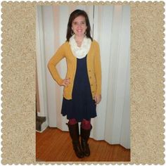 Navy blue dress, mustard yellow cardigan, cranberry tights, boots, white scarf, fall outfit #xmas_present #xmas_gifts